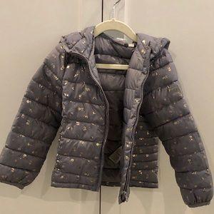 Gap Kids grey and gold light puffer jacket